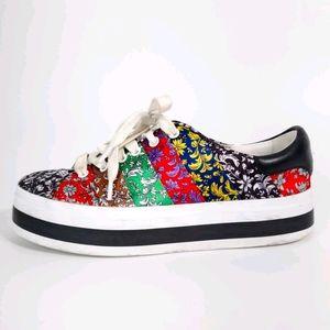 Alice + Olivia Emmalyn Silk Floral Platform Shoes